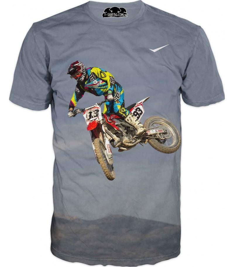 Тениска с моторист - полет