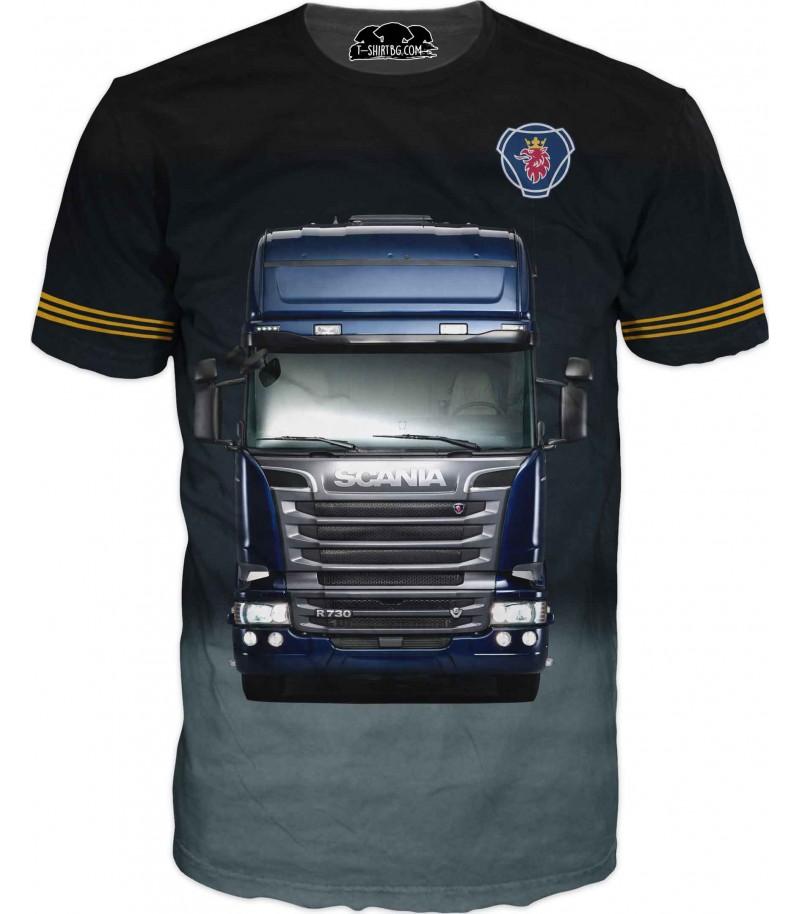Тениска с камион Сканиа - тъмен фон