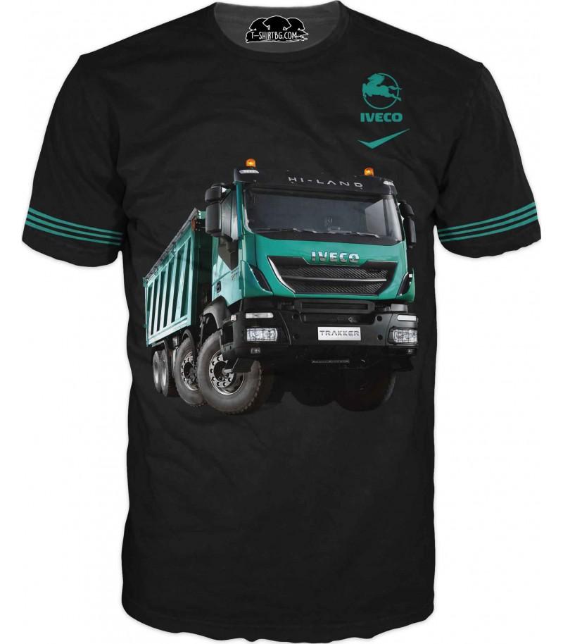 Тениска на зелен камион Ивеко - черен фон