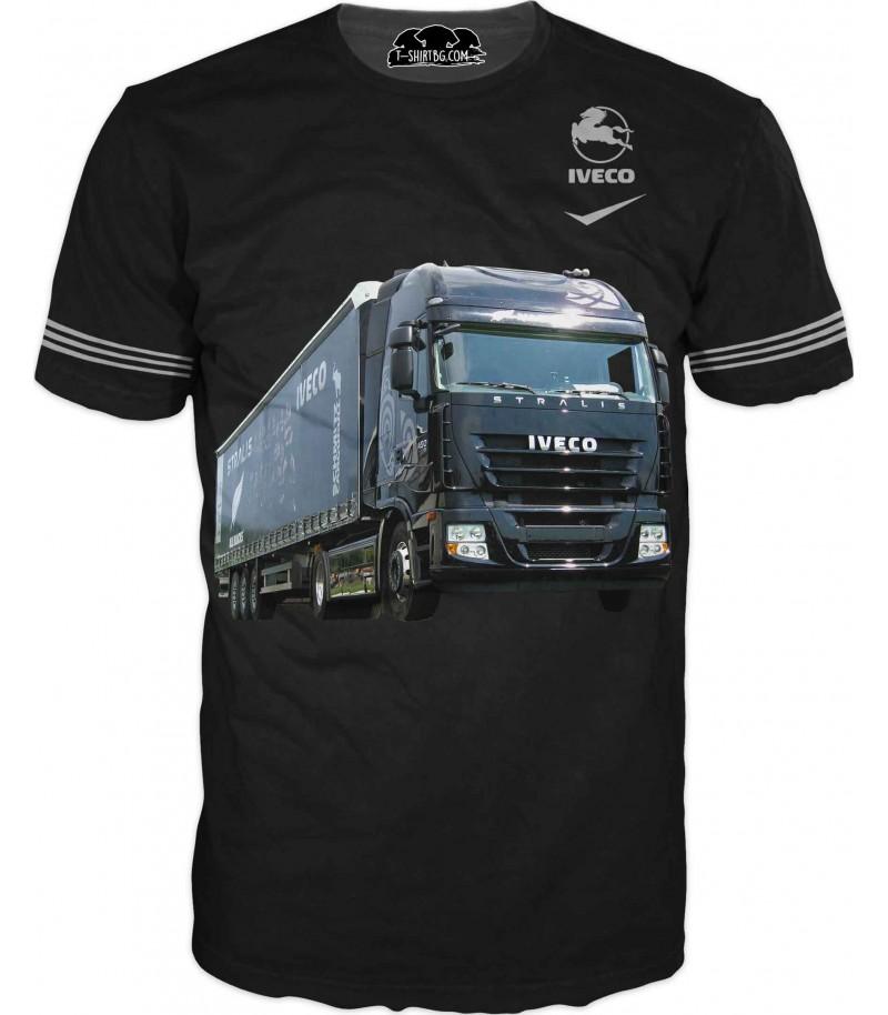 Тениска с камион Ивеко - черен