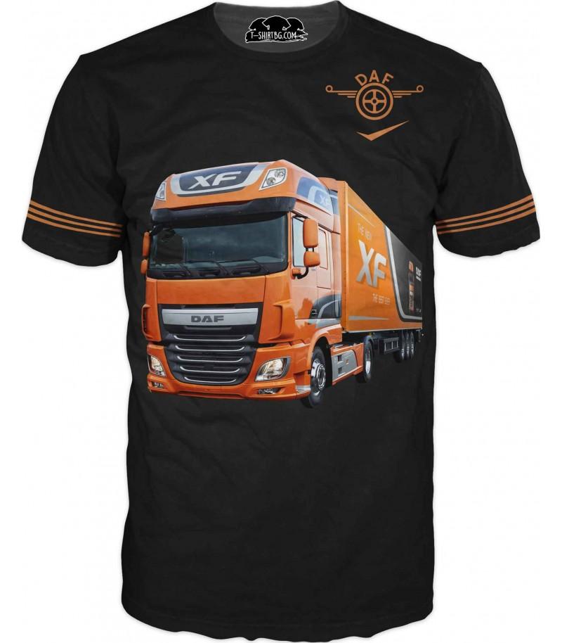Тениска с камион ДАФ - на черен фон