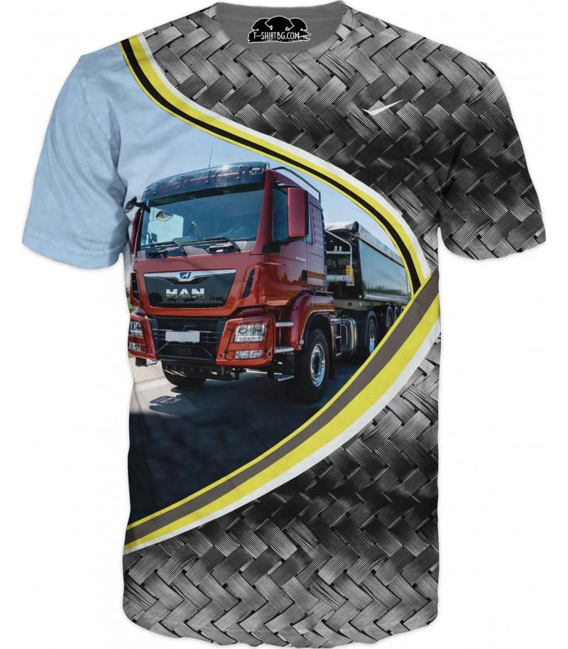 Тениска с камион МАН - червен