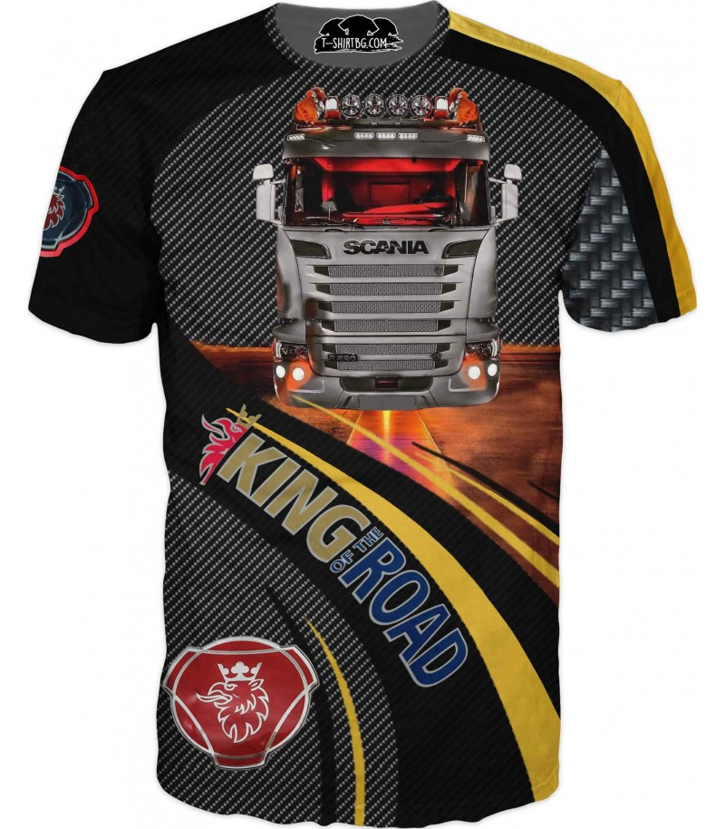 Тениска с камион Сканиа - карбон