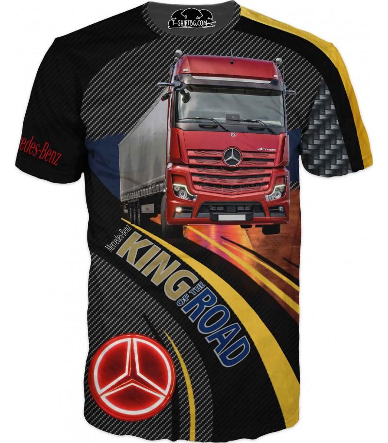 Тениска с камион Мерцедес - карбон