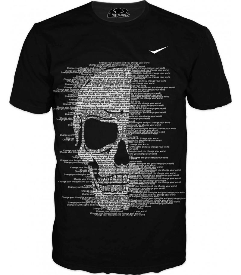 Абстрактна тениска с бял череп