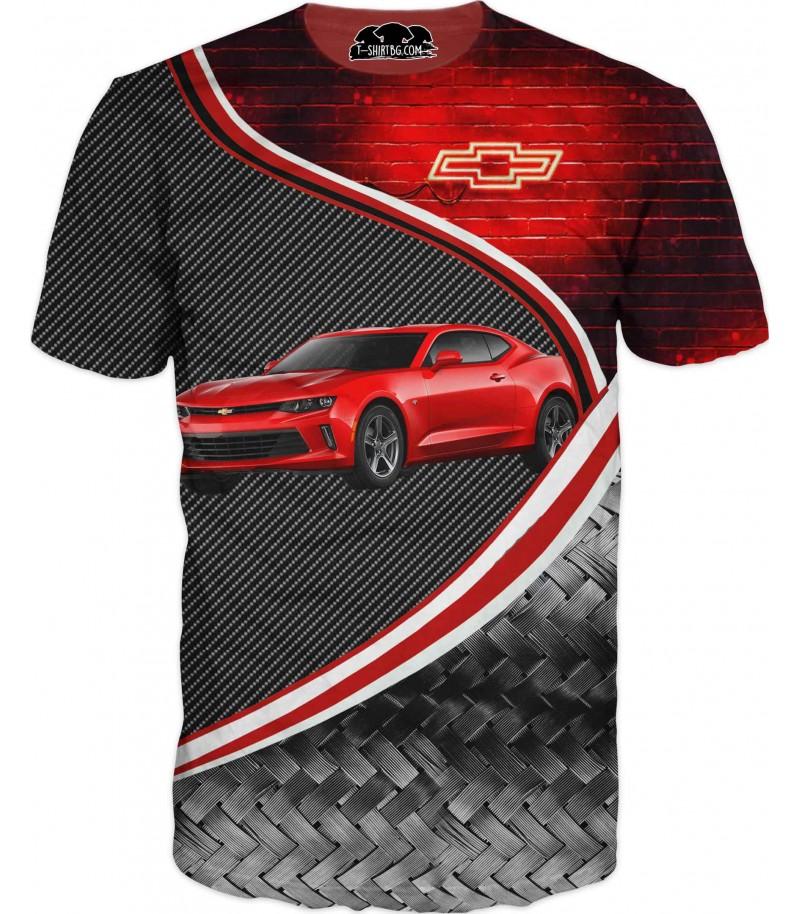 Автомобилна тениска с Шевролет - неон