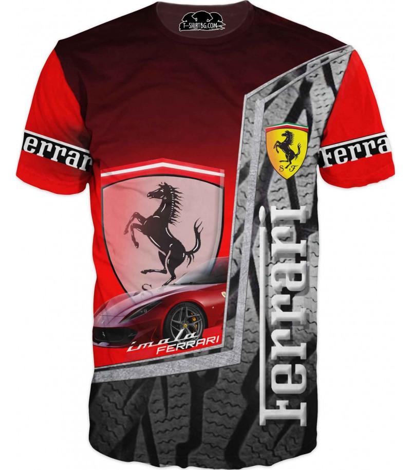 Автомобилна тениска с Ферари на път