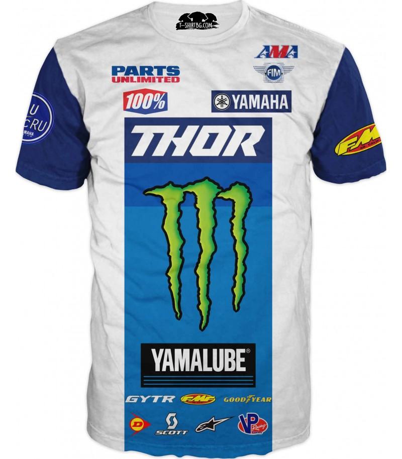 Тениска със спонсори с Тор и Монстер - бяла