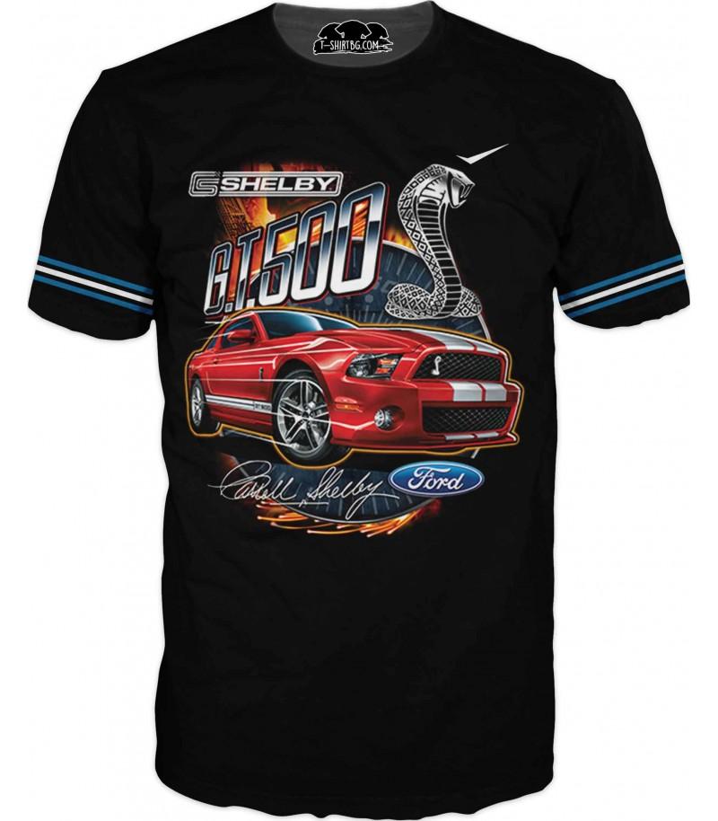 Автомобилна тениска с Мустан Шелби - за фенове