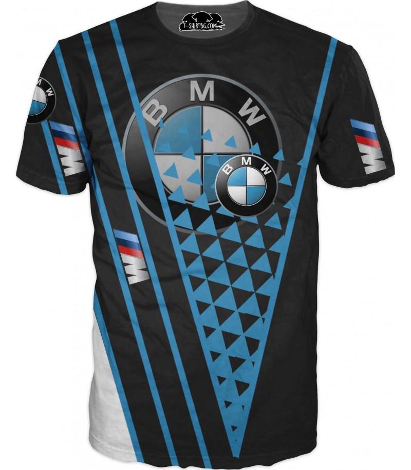Тениска с голямо лого на БМВ - сини ивици