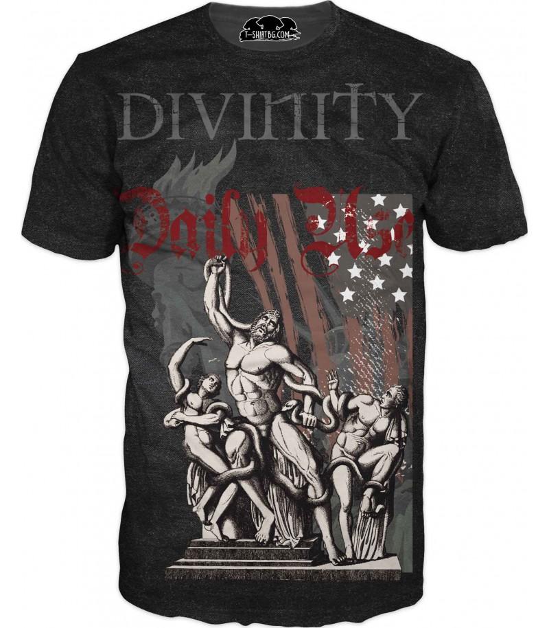 Тениска със статуи на божества