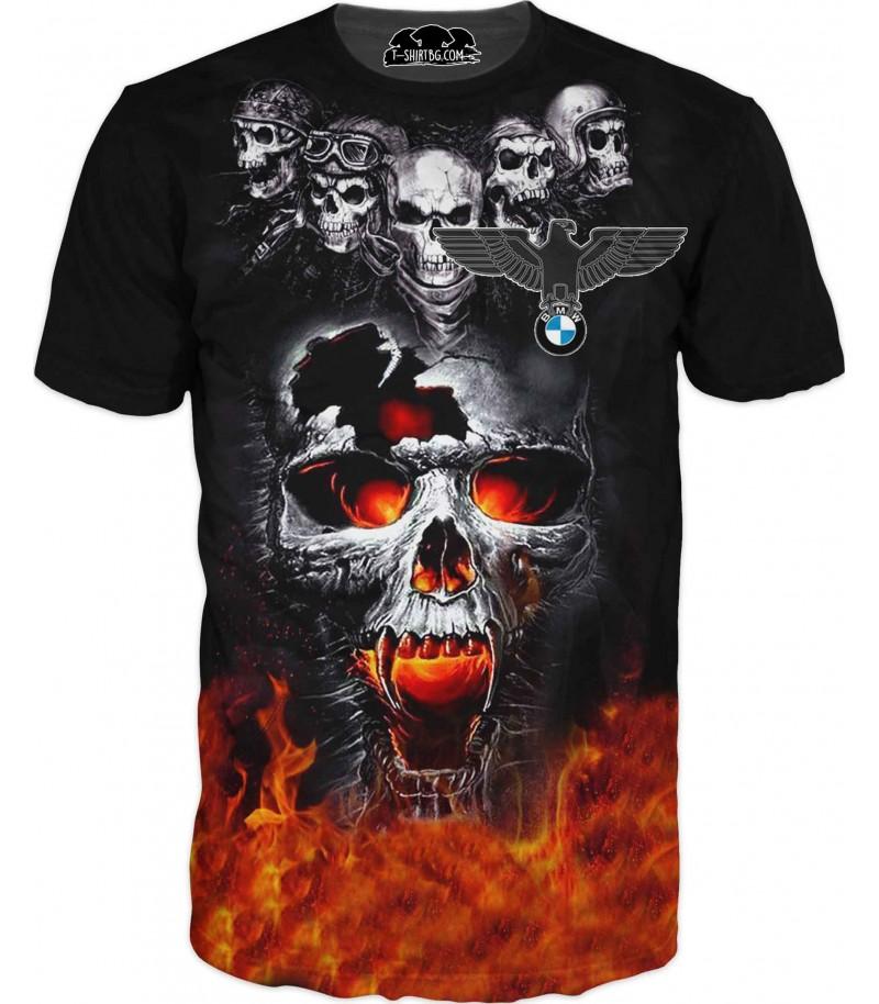 Автомобилна тениска с БМВ и огнен череп с орел