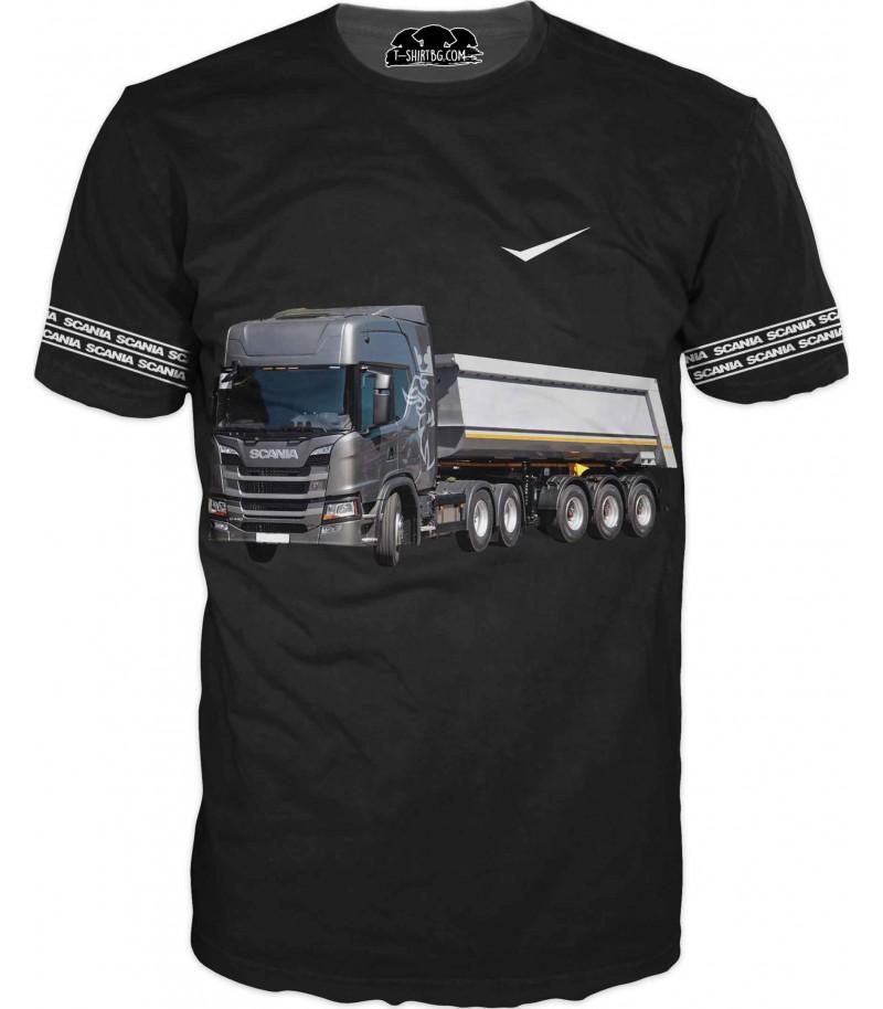 Тениска с камион Сканиа - черна