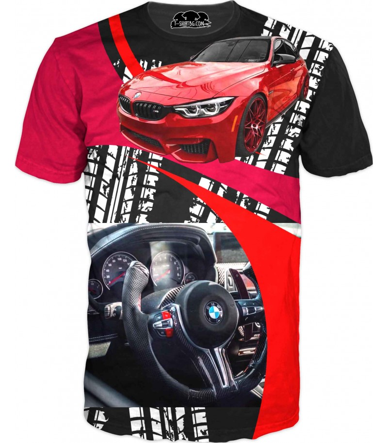 Автомобилна тениска - БМВ с арт лого
