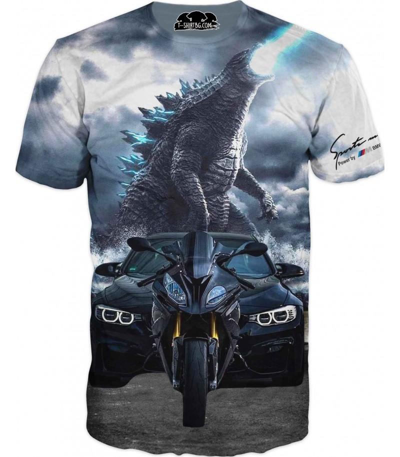 Астомобилна фен тениска на БМВ с дракон