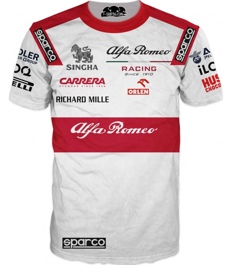 Автомобилна тениска - Алфа Ромео и емблема - бяла