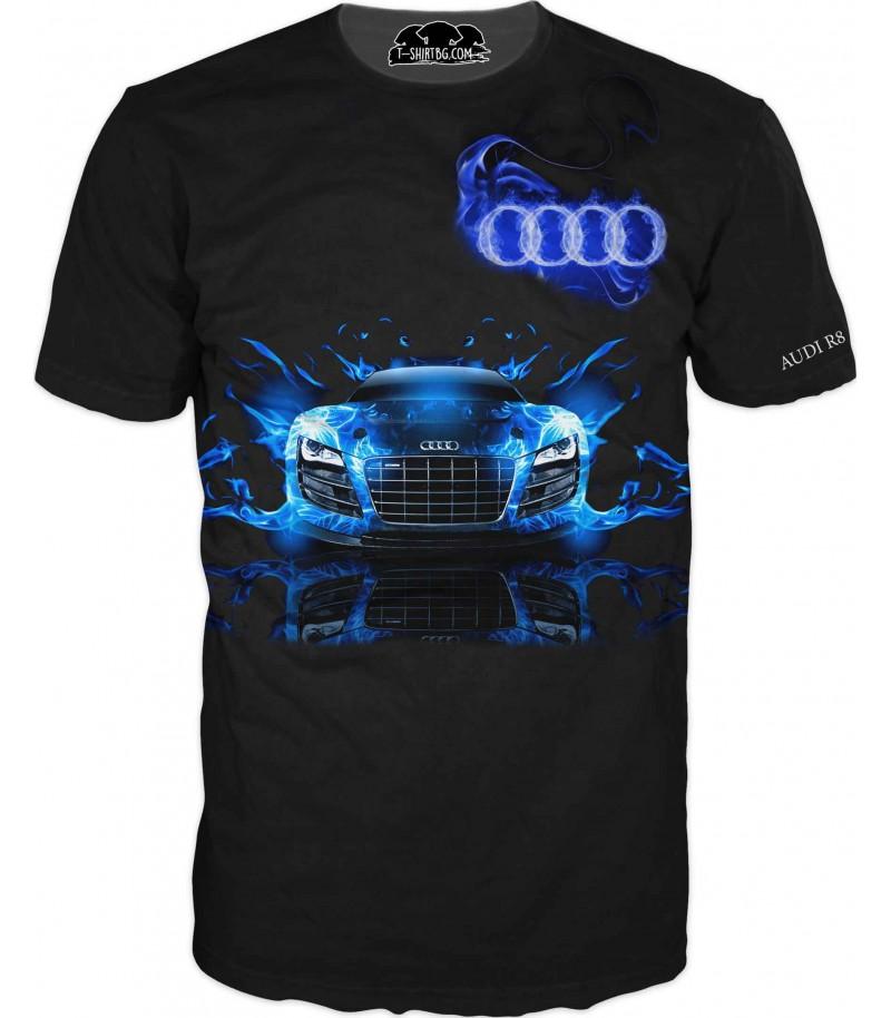 Автомобилна тениска на Ауди R8 - сини пламъци