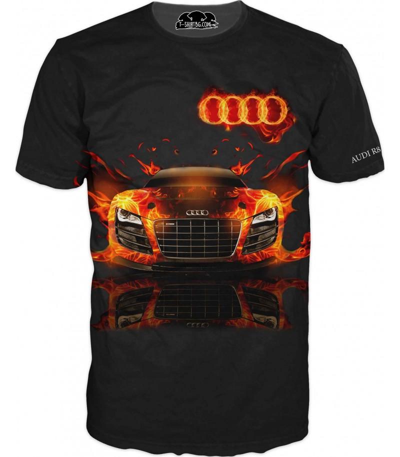 Автомобилна тениска на Ауди R8 - червени пламъци