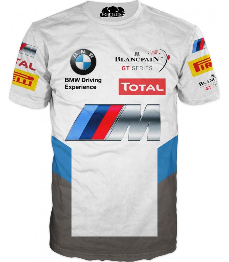Автомобилна тениска - БМВ с лога - бяла