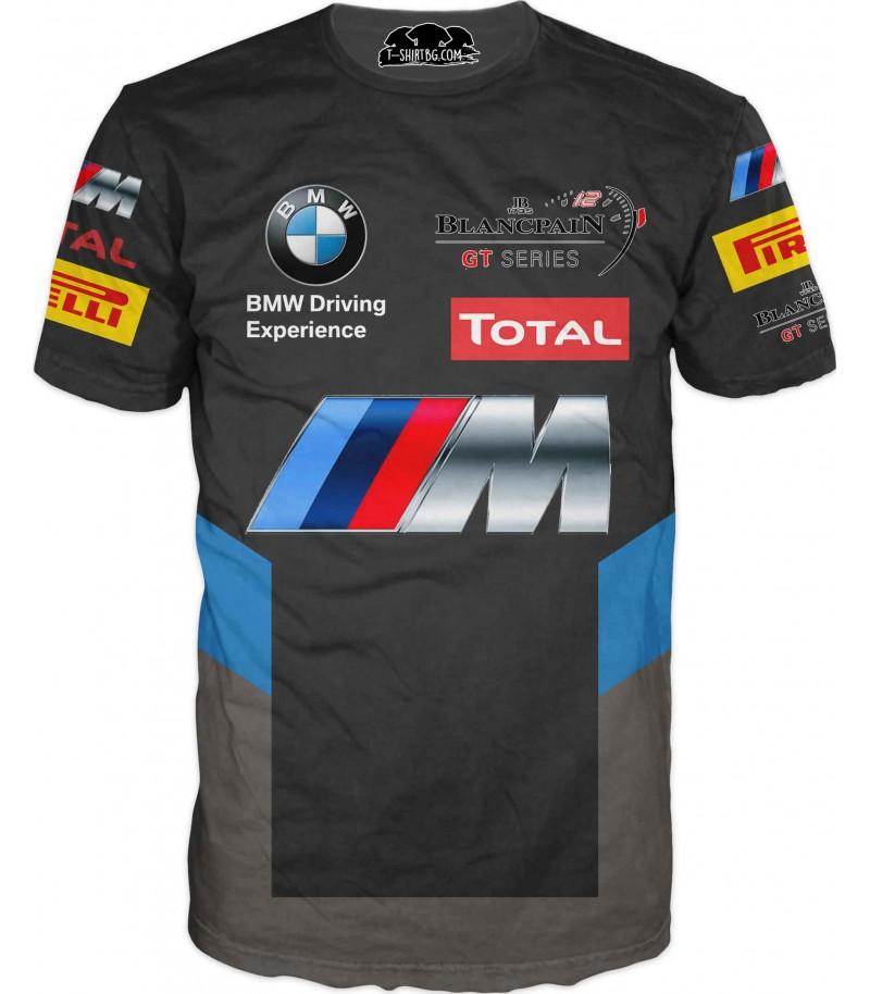 Автомобилна тениска - БМВ с лога - черна