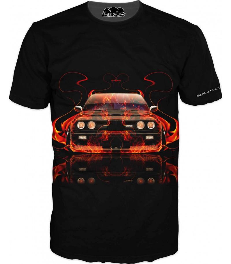 Тениска с огнено БМВ М3