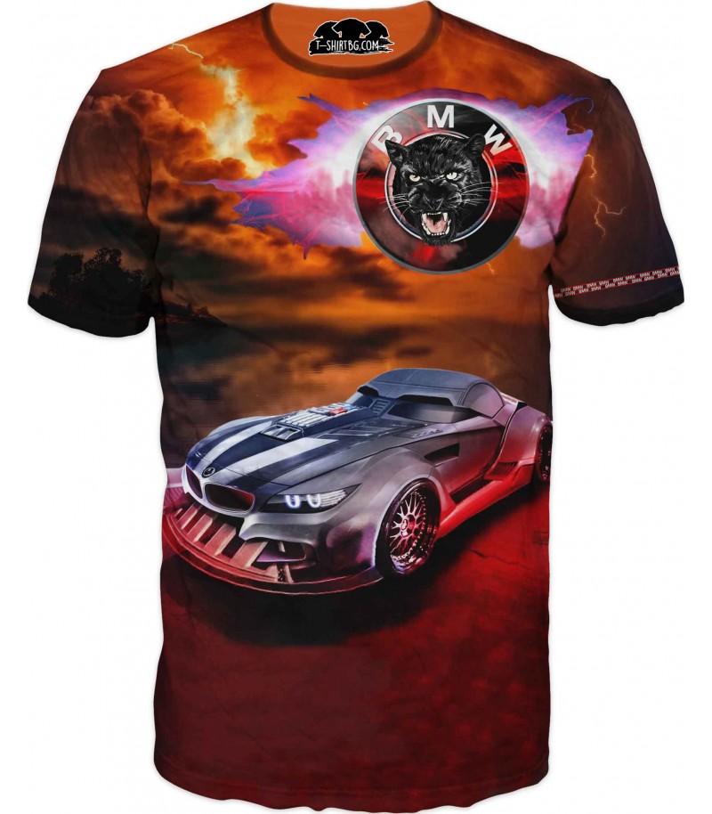 Удивителна тениска с БМВ - черна пантера