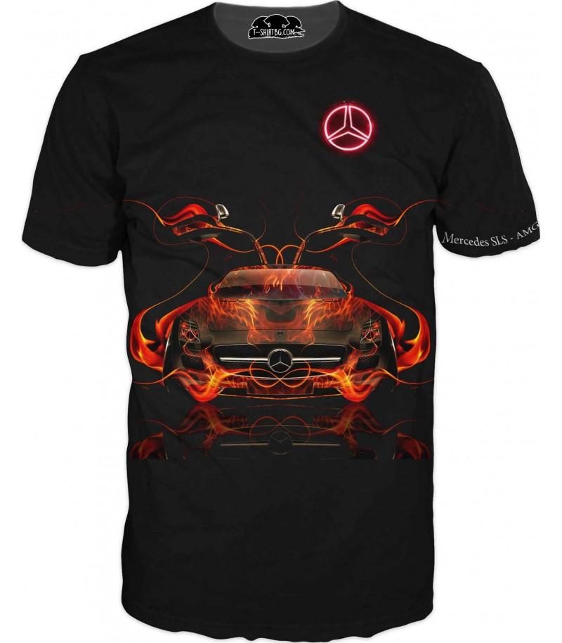 Автомобилна тениска с Мерцедес в пламъци