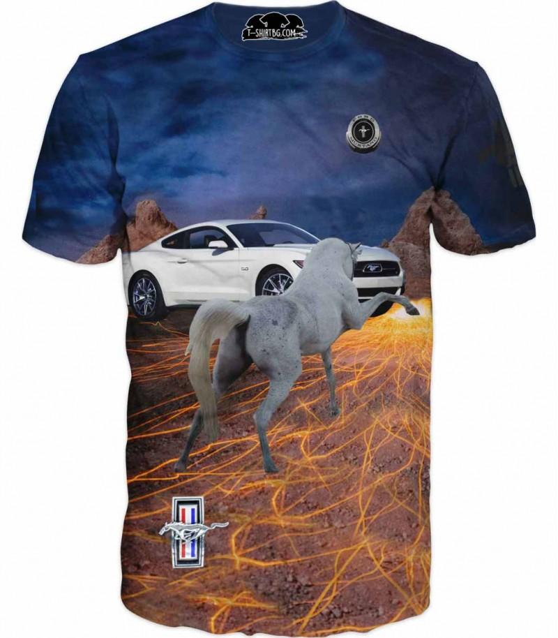 Страхотна тениска на Форд Мустанг - конски сили