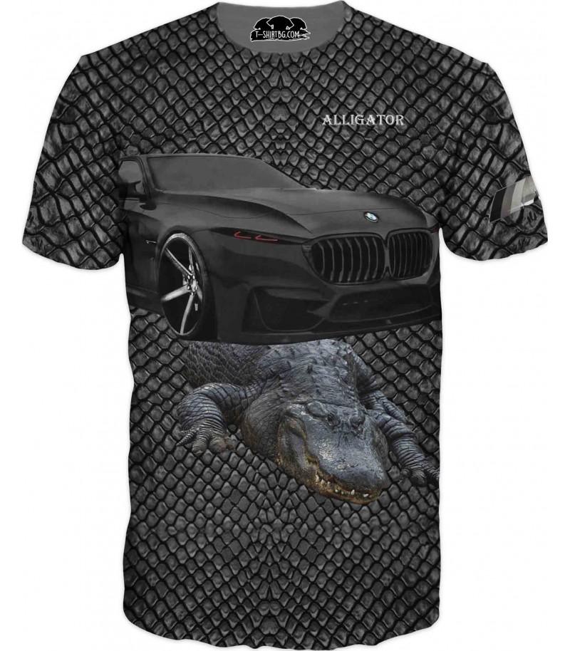 Автомобилна тениска с БМВ и алигатор