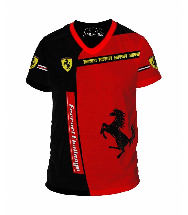 Удивителна тениска с Ферари - V-деколте
