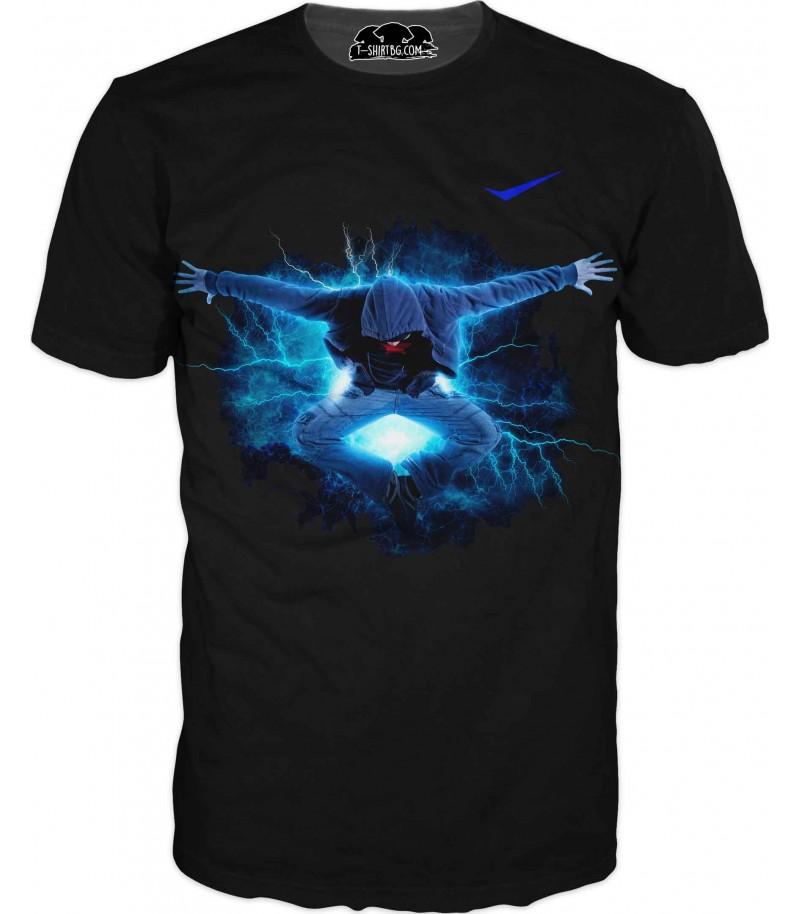 Забавна тениска - човек в синьо
