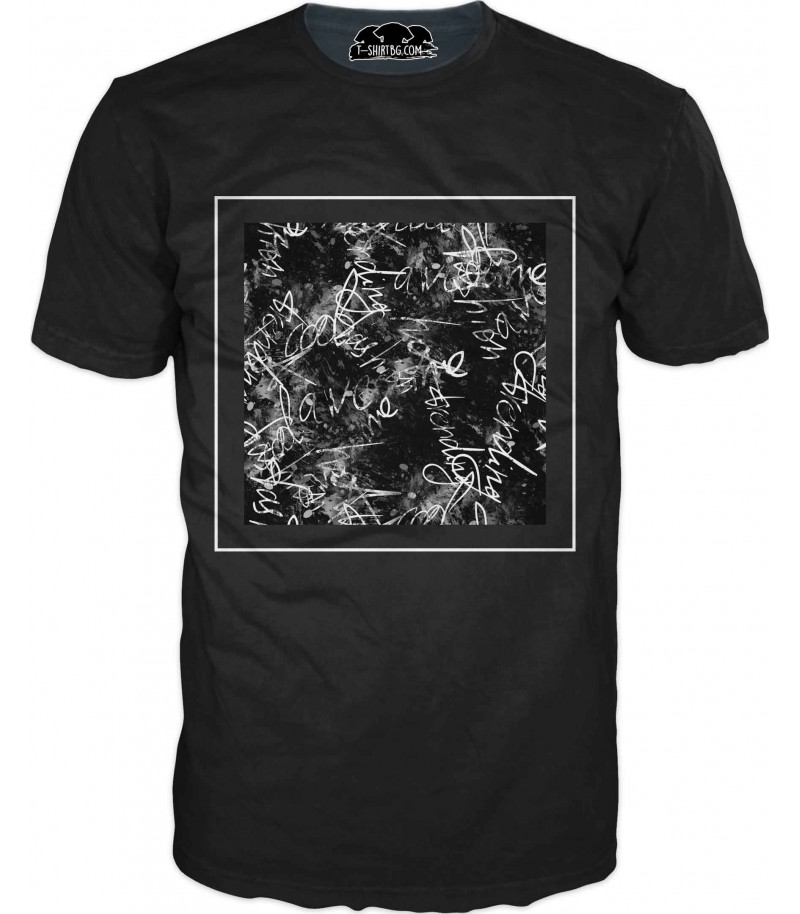 Тениска със сиви графити