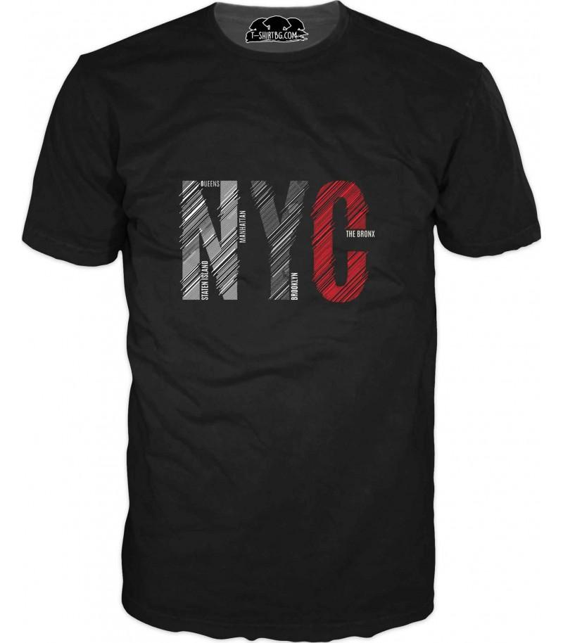 Арт тениска с надпис - Ню Йорк