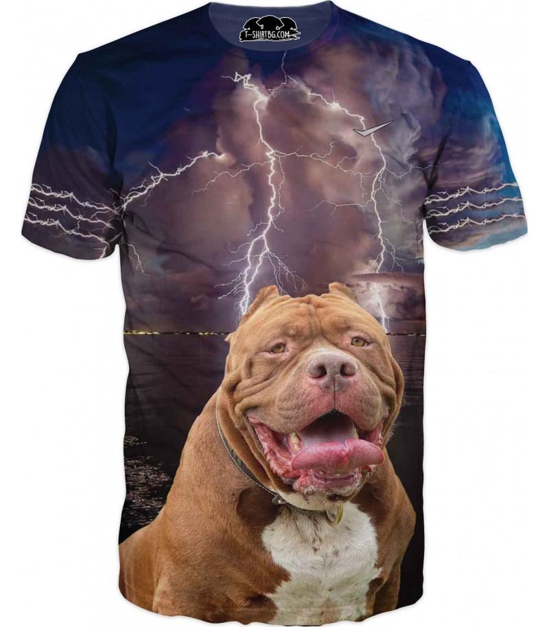 Тениска с куче и светкавица