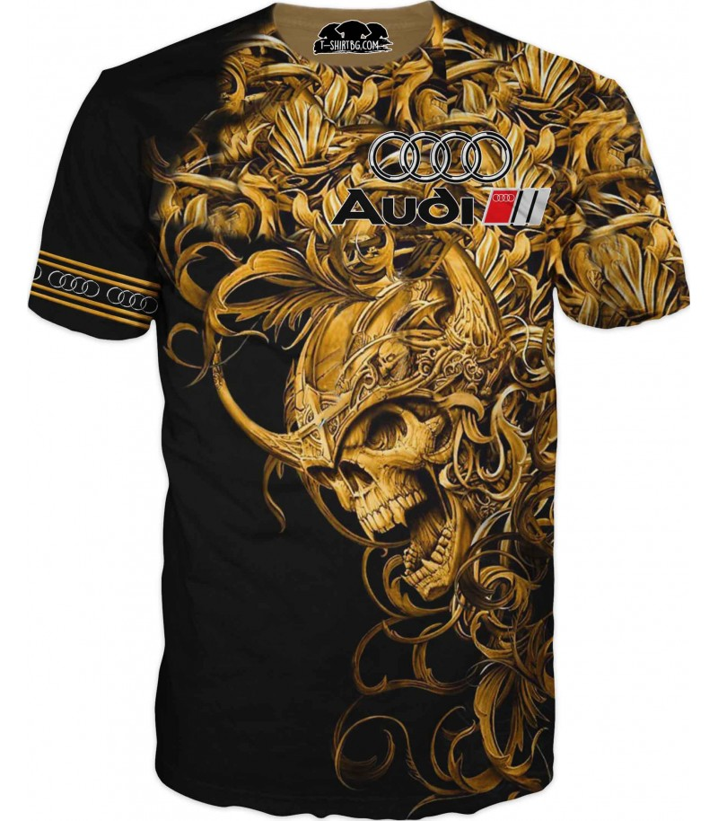 Автомобилна тениска на Ауди със златен череп