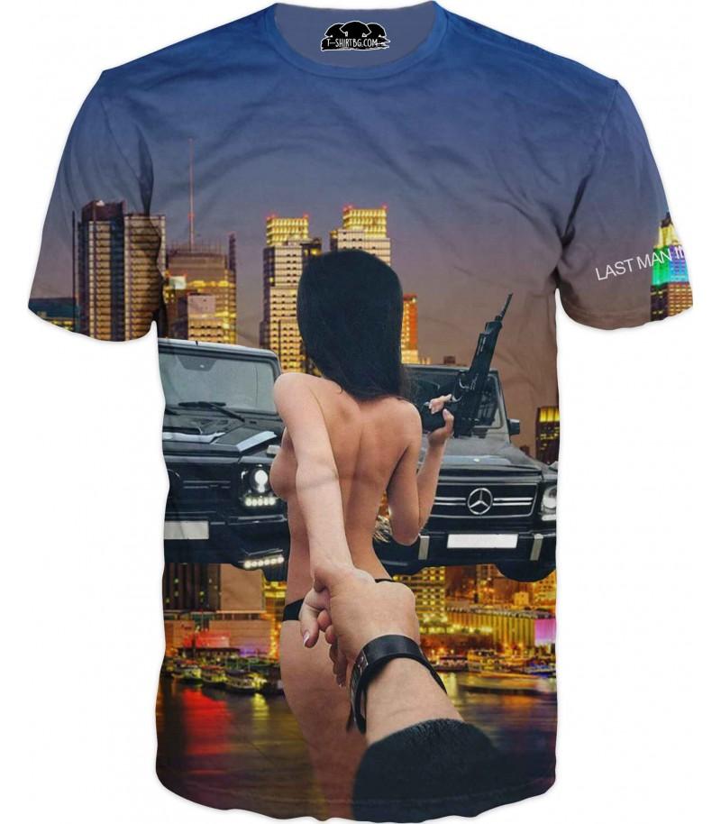 Удивителна тениска - красива жена и кола