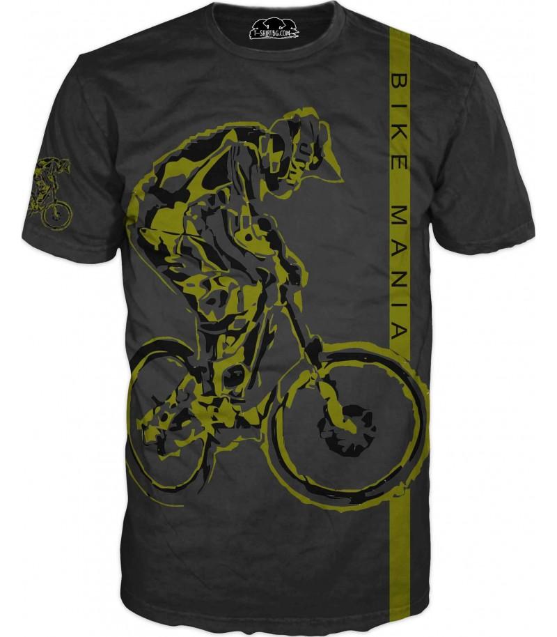 Тениска с колело - черна - модел 2
