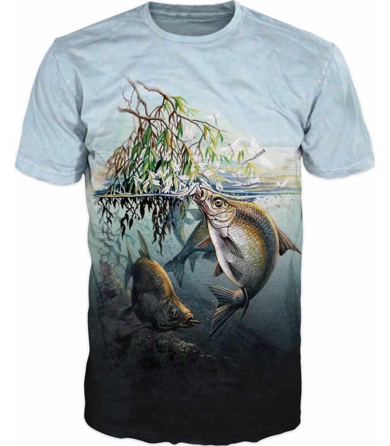Риболовна тениска с шарани в тръстиката