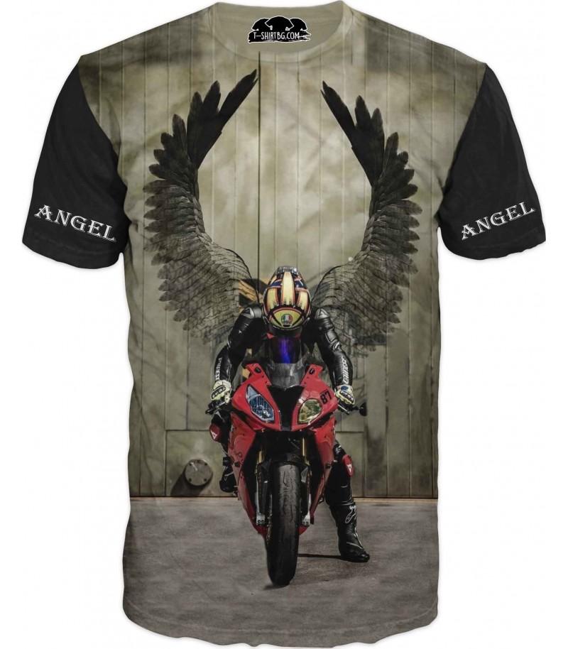 Тениска с моторист - ангел