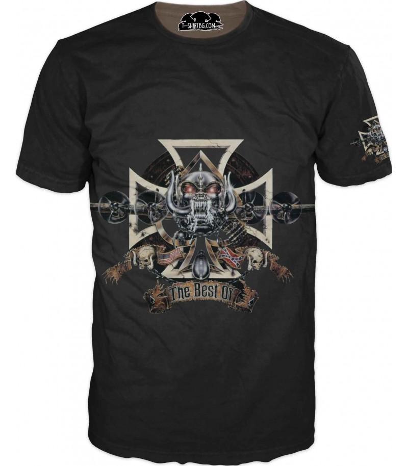 Забавна тениска на мотор - зловещ череп