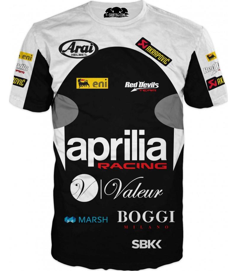 Моторна състезателна тениска с Априлия