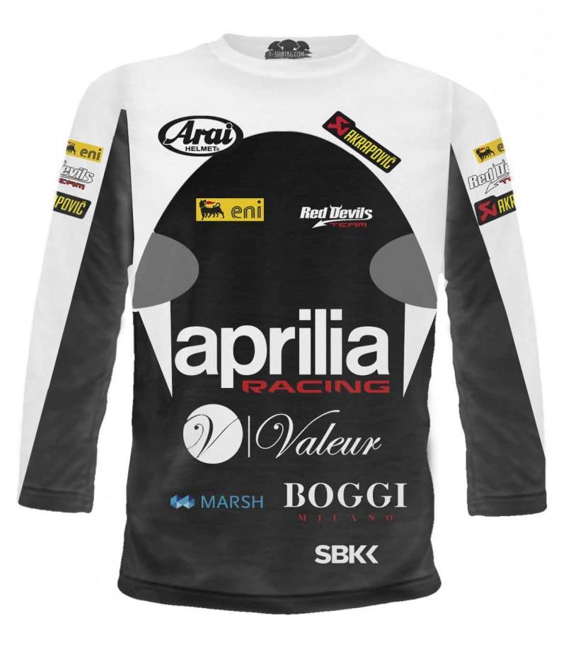 Моторна състезателна тениска на Априлия - дълги ръкави