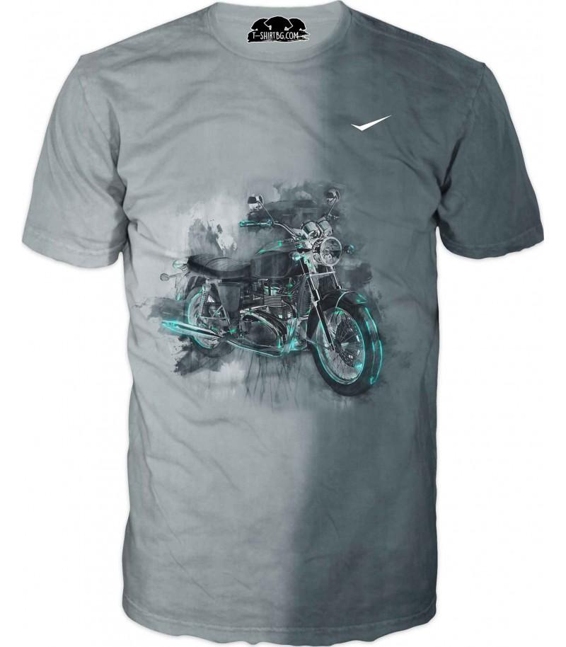 Тениска с мотор - сиво-зелена