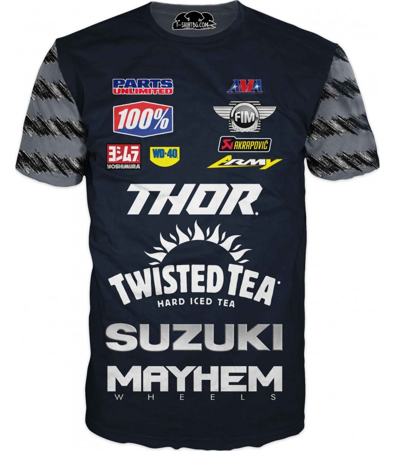 Тениска с мотор Сузуки - спонсори