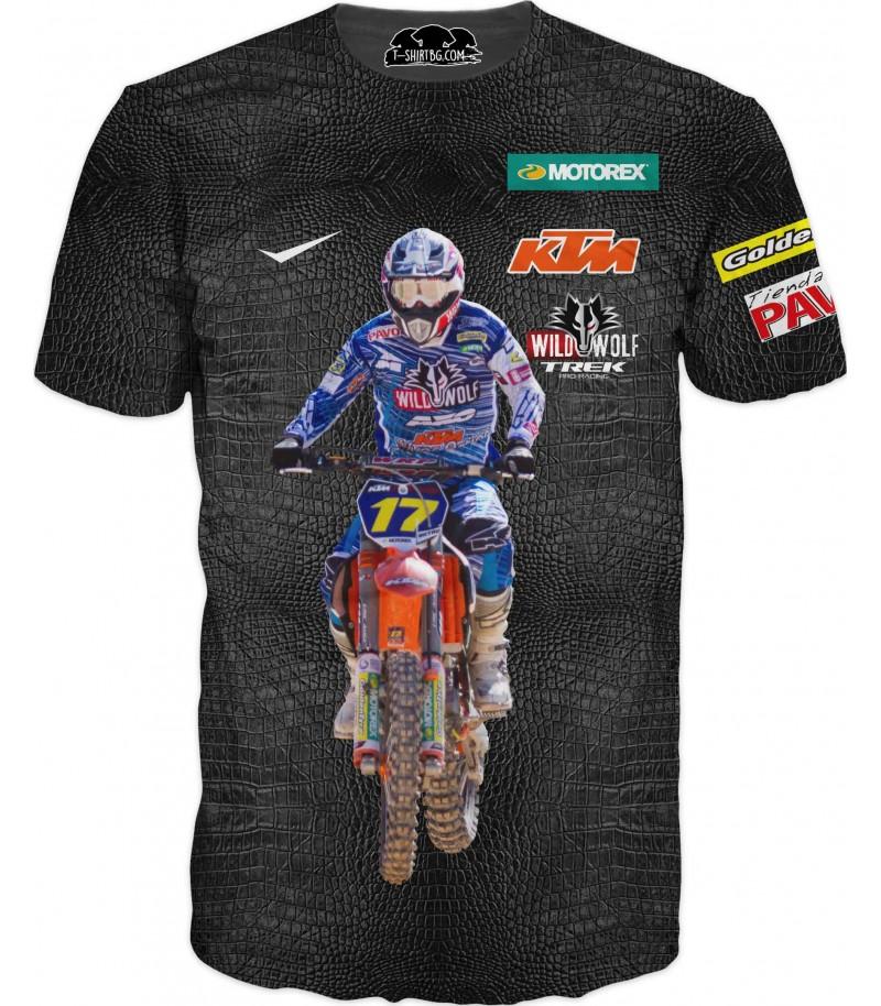 Тениска с моторист на КТМ - кожен фон