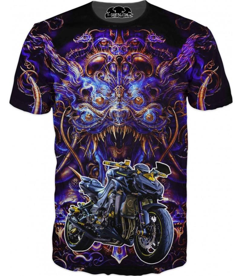 Тениска на мотор Kawasaki с абстрактен фон