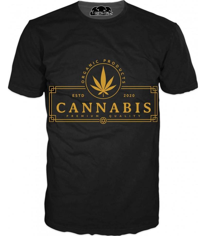 Тениска с лого - каннабис