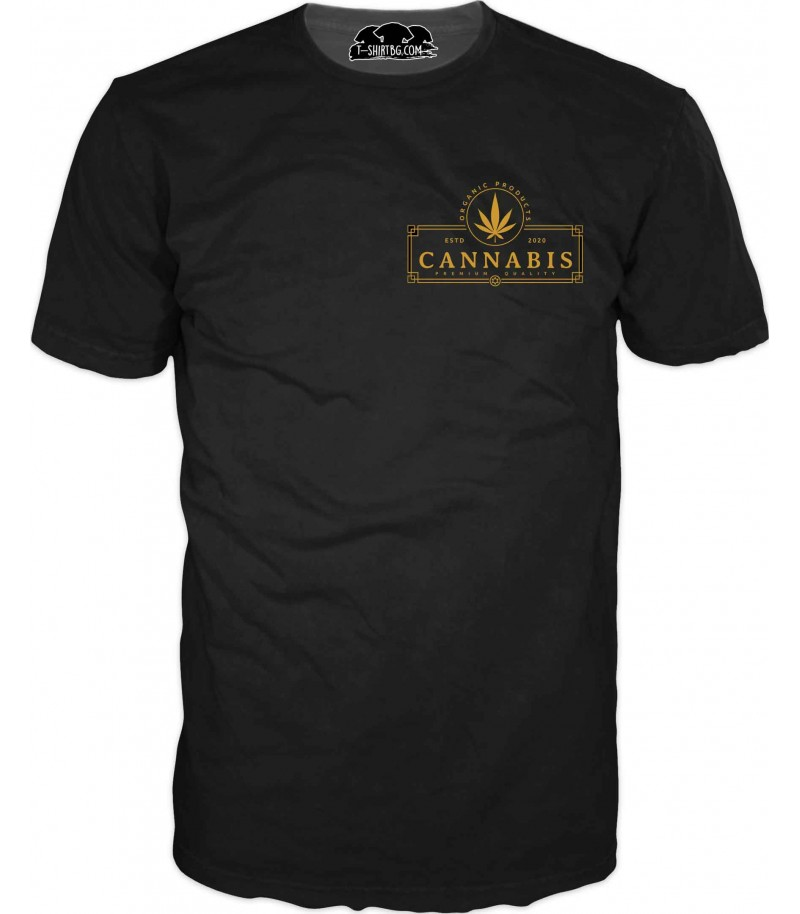 Тениска с малко лого - каннабис