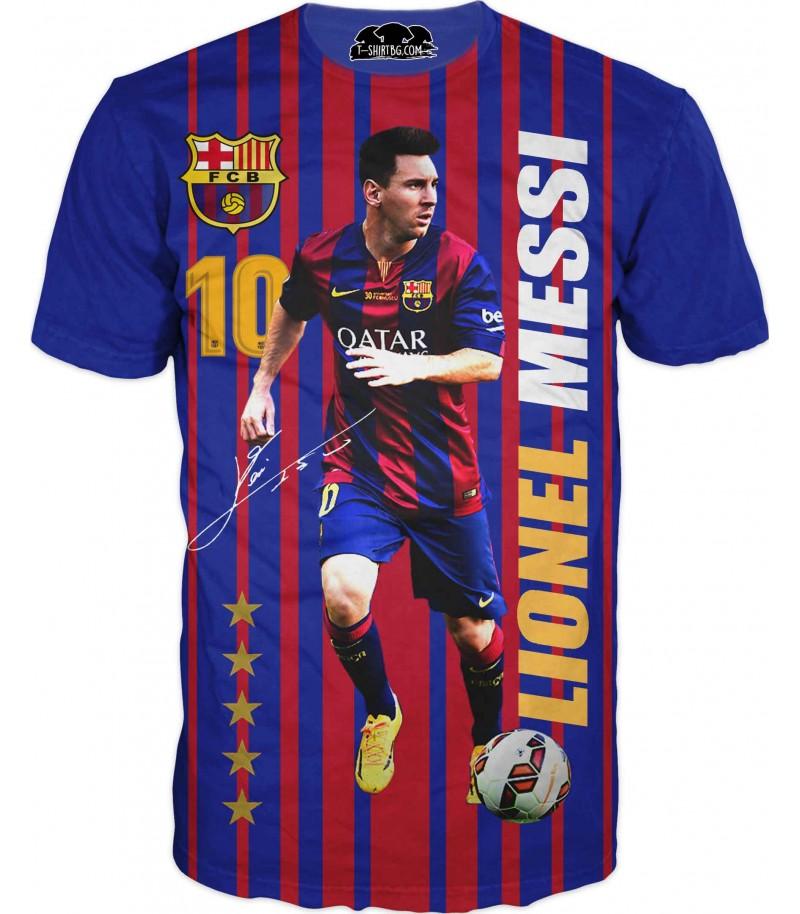 Футболна тениска с Меси - синя