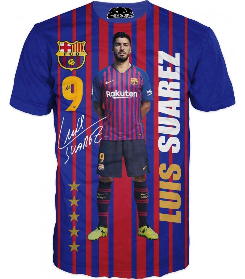Футболна тениска с Соларез - синя